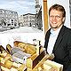 Felix Vogelpohl und Oberbürgermeister Dr. Thomas Jung haben eine Vision: ein Museum der Moderne neben dem Rathaus.