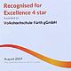 Für ihre exzellente Qualitätsarbeit ist die vhs Fürth erneut ausgezeichnet worden und zweite in der Spitzengruppe der bayerischen Volkhochschulen.