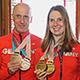 Oberbürgermeister Thomas Jung und Sportbürger- meister Markus Braun begrüßten die zweifachen Bronzemedaillen-Gewinner Clara Klug und Martin Härtl.