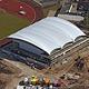Dachkonstruktion des neuen modernen Sport- komplexes am Schießanger ist bei Brandschutz-Test durchgefallen. Architekt steht nun in der Pflicht.