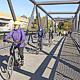 Die neu eröffnete Brücke über die Regnitz ist die teuerste und größte, die nur dem Fuß- und Radverkehr vorbehalten ist.