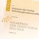 Für die besondere Leistungen beim Einsatz regenerativer Energien hat die Stadt Fürth den Solarpreis verliehen.